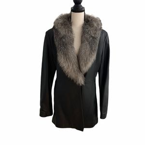 Marvin Richards Leather Coat with Fox Trim